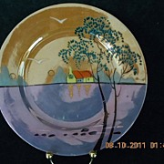 "Vintage 1920-1930's Takito Company Porcelain Plate marked double ""TT"" hand painted Scenic Art"