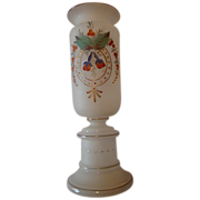 Antique Victorian hand painted Satin glass Vase