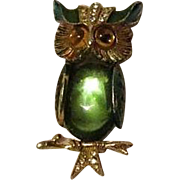 Vintage Owl Brooch Green Glass Belly Signed Art