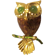 Vintage Owl Brooch Jade Eyes 12k Gold filled