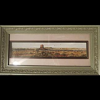 Original water color by Daniel Maldonado framed Western Landscape