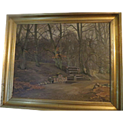 Original Oil Paintng LUDVIG HOLM (Frants Henry Ludvig Holm) (Listed Denmark  Park Scene with Monument, 1925 signed