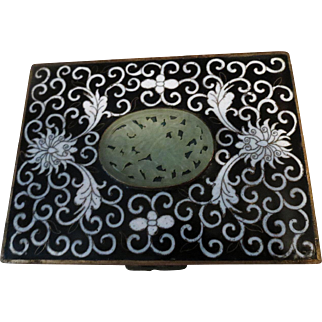 Antique black and white footed cloisonne box with JADE insert and four compartments