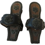 Antique Early Turkish Wood & Silver Filigree Bath Clogs Shoes