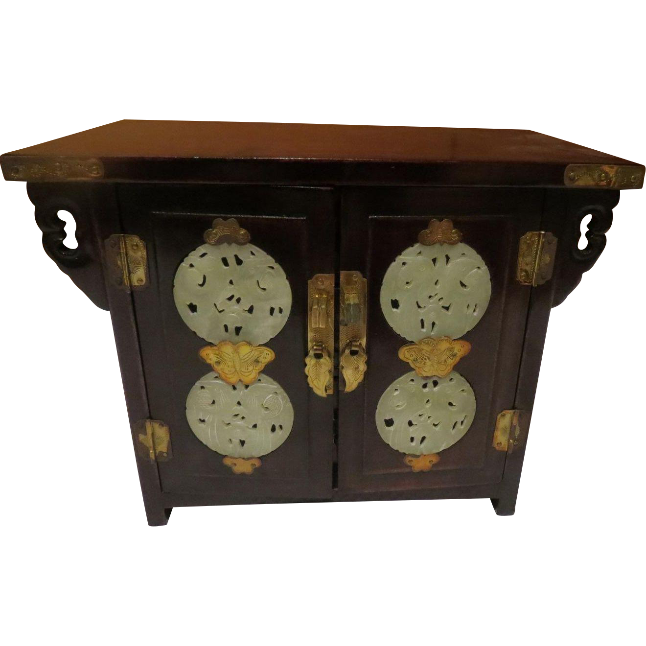 Vintage chinese mahogany silk and jade jewelry box from for Vintage antique jewelry box