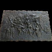 Vintage German High relief cast Iron plaque village scene