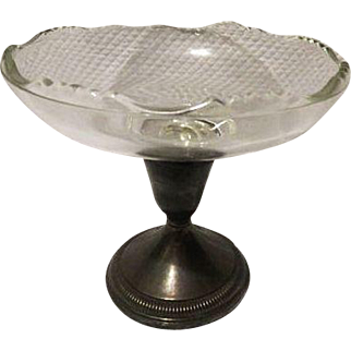 Vintage weighted Sterling glass compote dish