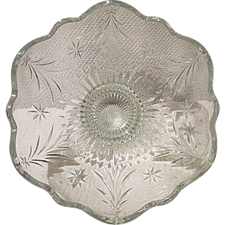 Vintage Crystal Bowl Large with etched pattern