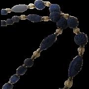 Vintage blue wood carved Roses Flapper bead Necklace