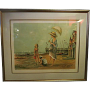 1970s French Lithograph by Jacques Lalande Sea Side