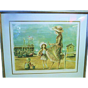 1970s French Lithograph Art by Jacques Lalande Mother and Daughter at the Beach