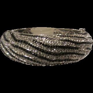 Joan Boyce Crystal Zebra Hinged Bangle Bracelet Silver tone