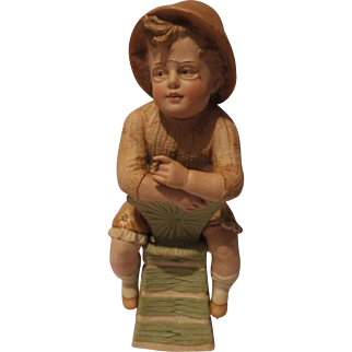 Antique Heubach Figurine Boy Piano Baby Large 14 inches
