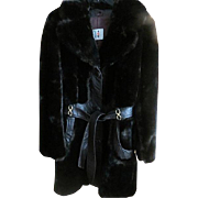Vintage 1960s Mod Faux Fur Made in England Coat