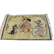 Vintage Walt Disney RUG Made in Belgium ~ Pinocchio, Cleo, & Figaro~ Vintage ~ charming! 38 x 21 1/2 inches