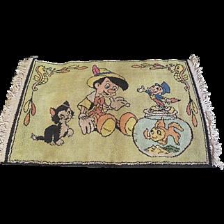 Vintage Walt Disney RUG Made in Belgium ~ Pinocchio, Cleo, & Figaro~ Vintage ~ charming! 38 x 21 1/2 inches