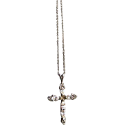 Vintage Necklace Sterling silver Cross pendant and 20 inch chain