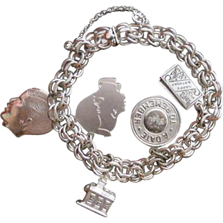 "Vintage Sterling Silver 8"" ELCO Charm Bracelet Double Link Heart Clasp w/ charms"