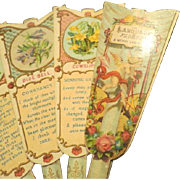Antique Victorian Lithographed Paper Fan The Language of Flowers A Merry Christmas