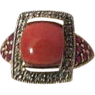 Coral Diamond Ruby yellow Gold womens Ring