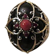 Sterling Silver Onyx Coral & Ruby Ring