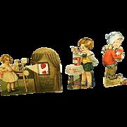 Vintage Antique movable Mechanical Valentine Cards set of three