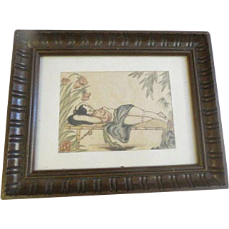 Early Japanoise erotic nude woman Original watercolor on rice paper