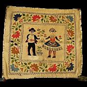 Vintage Embroidered Wedding Folk Art Pillow cover