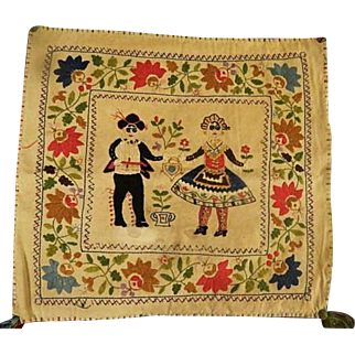 Vintage Embroidered Wedding Folk Art Pillow cover