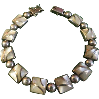 Vintage Sterling Silver Mother of Pearl inlay Bracelet
