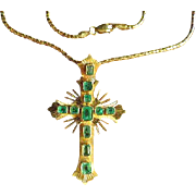 "Vintage stunning 18K Gold Emerald Cross Pendant w/ 20""Necklace Chain"