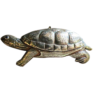 "Vintage Sterling silver handmade Sea Turtle w/garnet eye Pendant Brooch 3"""
