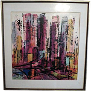 "Vintage Lithograph ""City Scene"" by Xanti Schawinsky (1904 - 1979) Bauhaus Artist 20th century"