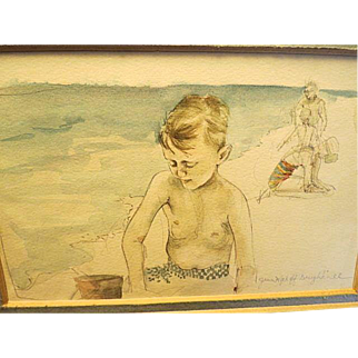 Original water color painting by Jann Wyckoff Daughdrill Children at te Beach