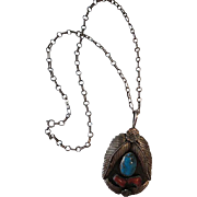 """Vintage navajo American Indian silver Signed A.J Sterling Necklace with 3"""" turquoise Pendant"""