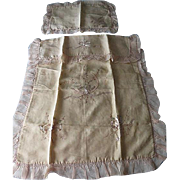 Vintage Baby silk & chiffon embroidery bedspread w/ pillow cover