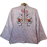 Vintage Japanese Pink quilted Jacket w/ embroidery