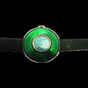 Vintage Cimier green enamel watch wind up swiss made