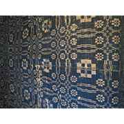 Antique American Homespun Wool Coverlet Circa 1840 75 x 100 inches blue