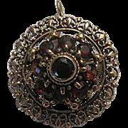 Antique Victorian 14k gold  Bohemian garnet Brooch  Pendant c1880