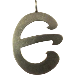 "Vintage 1970s Leonore Doskow Sterling Silver ""E"" Initial Signet Pendant"