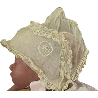 Antique Beautiful hand made Embroidered Baby Doll Bonnet