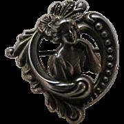 Antique Art nouveau Gibson Girl sterling Silver Brooch / Pendant