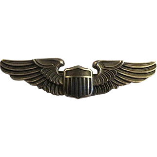 WWII-Army-Air-Corps-Sterling-Silver-Pilots-Wings-By-LGB