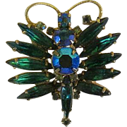 Vintage Juliana Gorgeous Green Rhinestones Dragonfly Pin Brooch