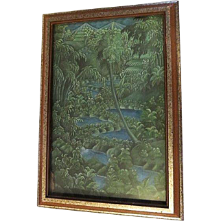Vintage original tahitian Painting on canvas Tahiti
