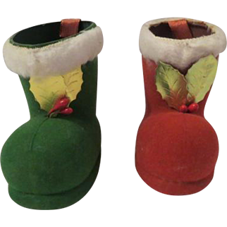 Vintage Christmas Holiday 1950s BOOTS Candy Container
