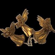 Vintage Gold Angel Ornaments Hard Plastic