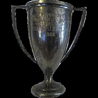 Vintage 1926 Lake Champlain Club silverplate Golf Trophy Charles J Bellamy