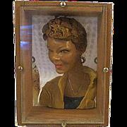 Original Campy Pop Art Sculpture Womans Portrait Sculpture shadow box